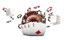 Playing cards and poker chips fly casino. Casino roulette concept on white background. Poker casino vector illustration. Playing cards and poker chips fly casino royalty free illustration