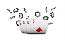 Playing cards and poker chips fly casino. Concept on white background. Poker casino vector illustration.  Stock Images