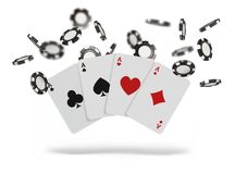 Playing cards and poker chips fly casino. Concept on white background. Poker casino vector illustration.  Royalty Free Stock Images