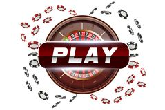 Playing cards and poker chips fly casino play button. Concept on white background. Poker casino vector illustration. Red. And black realistic chip in the air vector illustration