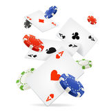 Playing Cards and Poker Chips Fly. Vector. Playing Cards and Poker Chips Fly Casino Concept on a Light Background. Vector illustration Stock Photography
