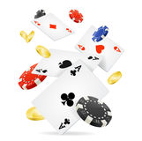 Playing Cards and Poker Chips Fly. Vector. Playing Cards, Gold Coins and Poker Chips Fly Casino Concept for Web. Vector illustration Stock Photos