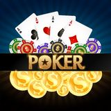 Playing cards poker chips and gold coins vector illustration