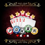 Playing cards with poker chips. Illustration of Playing cards with poker chips Stock Photo