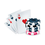 Playing cards with poker chips isolated Stock Images