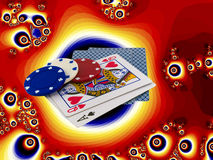 Playing Cards Poker Chips over funky psychedelic. Playing Cards Queen and Ace with Poker Chips over funky psychedelic bright orange background Stock Photos