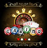 Playing cards with poker chips and roulette wheel. Illustration of Playing cards with poker chips and roulette wheel Stock Image