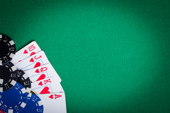 Playing Cards and Poker chips Stock Photos