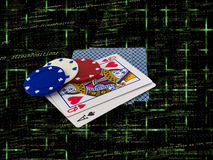 Playing Cards with Poker Chips on Source Code. Playing Cards Queen and Ace with Poker Chips over Programming Source Code Stock Photography