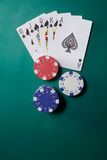 Playing cards and poker chips Royalty Free Stock Photos