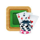 Playing cards with poker chips on table isolated. On white Royalty Free Stock Images