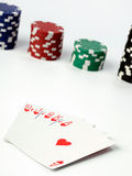 Playing cards and poker chips Royalty Free Stock Photo