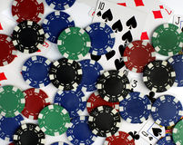 Playing cards and poker chips Royalty Free Stock Images