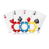 Playing cards and poker chips. On a white background Royalty Free Stock Image