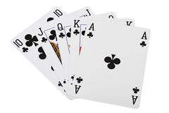 Playing cards poker combination royal flush Royalty Free Stock Photography