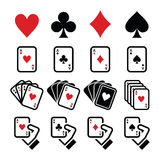 Playing cards, poker, gambling icons set Royalty Free Stock Photos