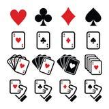 Playing cards, poker, gambling icons set Royalty Free Stock Photos