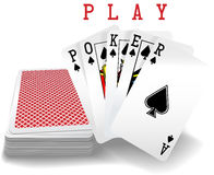 Playing Cards Poker Hand Deck. Royal straight flush playing cards deck and spades hand word Poker vector illustration