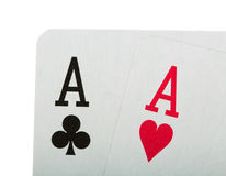 Playing cards in poker isolated on white. Royalty Free Stock Photography