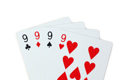 9 Playing cards poker. Isolated on white background Stock Photography