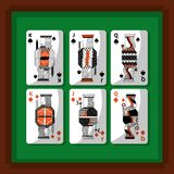 Playing cards poker kings and queen spade and diamond green background. Vector illustration vector illustration