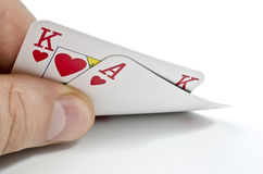 Playing cards in poker  over white Stock Photos