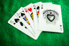 Playing cards poker. Royal flush frustrated Royalty Free Stock Images