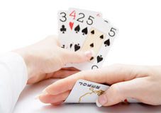 Playing cards - poker straight with joker Royalty Free Stock Image