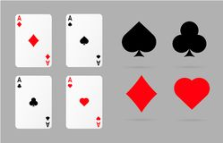 Playing  cards and poker symbols set. Ace spade heart and diamonds set Stock Photo