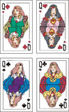 Playing cards. Queens. Set of color vector illustrations Stock Photos