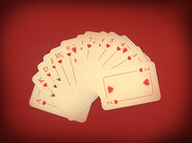 Playing cards on red Royalty Free Stock Photo