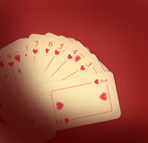 Playing cards on red Stock Image