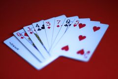 Playing cards on a red bacground royalty free stock photo