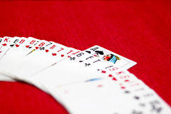 Playing cards. Red background. laid out cards and one card stands out Royalty Free Stock Photo