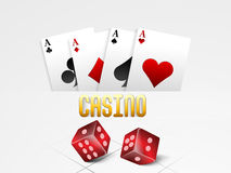 Playing cards with red dices for Casino. Stock Photography