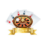 Playing cards with roulette and golden ribbon isolated Stock Photos