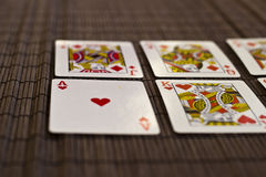 Playing Cards in a Row. On the Table Stock Photography
