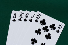 Playing cards - royal flush clubs Royalty Free Stock Photos