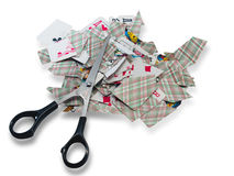 Playing cards scissors-destroy Royalty Free Stock Photos