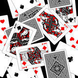 Playing cards seamless pattern background in black, white, gray Royalty Free Stock Photography