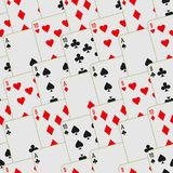 Playing cards seamless pattern. Card deck repeated background. Vector illustration stock illustration