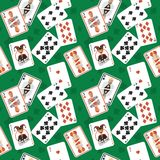 Playing cards seamless pattern. Casino poker hazard risk games playing cards seamless pattern vector illustration Royalty Free Stock Photography