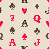 Playing cards seamless pattern. Vintage playing cards seamless pattern Stock Photography