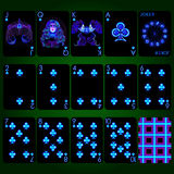 Playing cards series Neon Zodiac signs . Club suit playing cards full set. Playing cards, club suit, joker and back. Background black card Vector Illustration