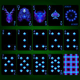 Playing Cards Series Neon Zodiac Signs . Spade Suit Playing Cards Full Set. Royalty Free Stock Image