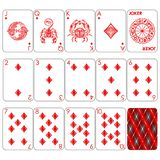 Playing cards series `Zodiac signs`. Diamond minemal red suit, joker and back. Background white card vector illustration
