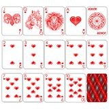 Playing cards series `Zodiac signs`. Heart minemal red suit, joker and back. Background white card royalty free illustration