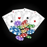 Playing cards with a set of chips stock illustration