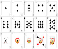 Playing Cards set - Clubs. Set of playing cards (clubs). Set includes all club cards, one red joker and back design. Card size respects the ration of the common Royalty Free Stock Photo