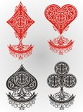 Playing cards. Set of decorative Playing cards on white Royalty Free Stock Images